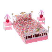 For Barbie Furniture Sweet Dream Bed Room Play Set with 2 set Bedside Table Lamp Accessories for Monster High Doll