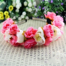 Rose Flower Crown Headbands for Women Wedding Festival Double Row Floral Garland Hairbands Free Shipping PY