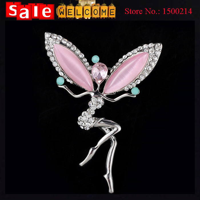 Full Rhinestone Ballet Dancer Girl Silver Plated Brooch Crystal Pink Opal Angle Wing Sexy Brooch Lapel Pin for Women Wholesale