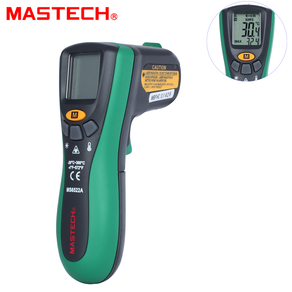 MASTECH MS6522A Digital Temperature Meter Tester Laser Pointer Non-contact Infrared IR Thermometer t010 new digital temperature meter tester mastech ms6520a laser pointer non contact infrared ir thermometer free shipping