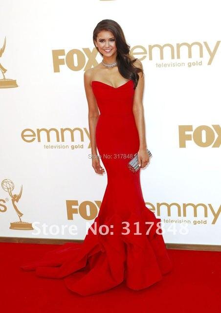 Latest unique style popular trend designer red sweetheart draped satin mermaid celebrity red carpet dresses RC03