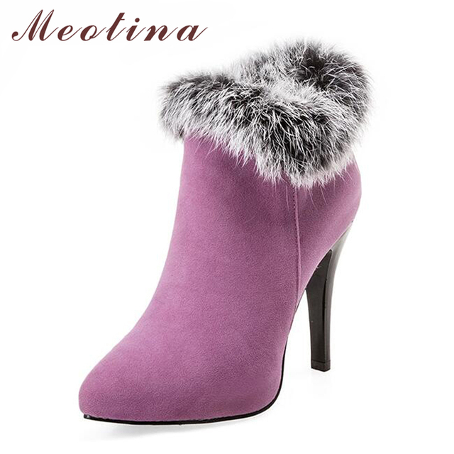 Meotina Shoes Women High Heels Ankle Boots Winter Boots Fur Platform High Heels Ladies Boots Zip White Purple Big Size 11 44 45