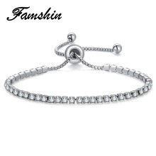 FAMSHIN 4 Colors Cubic Zirconia Tennis Bracelet & Bangles For Women Christmas Gifts New Fashion Lady Jewelry Pulseras Mujer Gift(China)