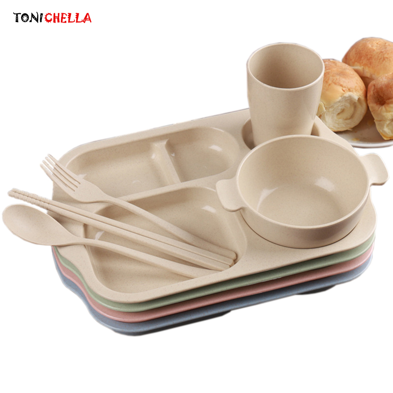 Children Feeding Plate Set Kids Dinnerware Baby Tray Wheat Straw Food Container Toddler Dishes With Fork Spoon Utensils T0529