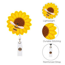 New Design Retractable Nurse Badge Reel Clip Cartoon Sunflower Students IC ID Card Badge Holder Telescopic Retracting Clip @3(China)
