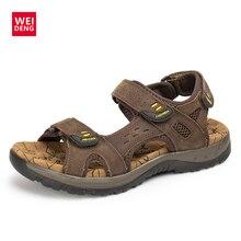 Plataforma Genuine Leather Casual Slippers Men Designer Flat Water Upstream Sandals Outdoor Sandle Hook Loop Shoes