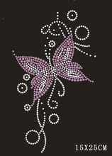 Free shipping (2pc/lot) Purple Butterfly rhinestone iron on transfers designs transfer hot fix motif