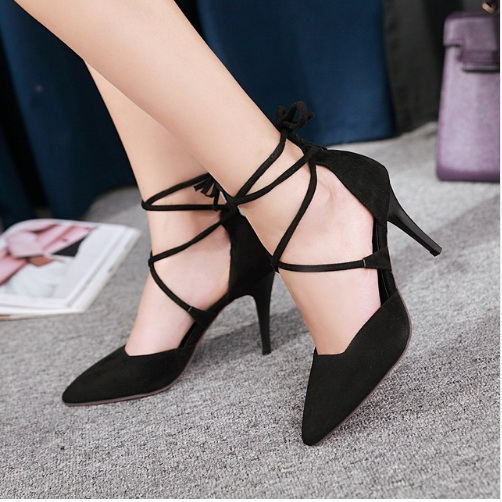 4af17708cb28 2017 New Summer Style women s Lace Up high heels Pointed Toe Bandage  Stiletto shoes celebrity ladies shoes Pumps Black red beige