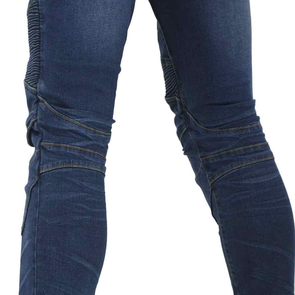 2019 Nuova Moto a Cavallo Dei Pantaloni Del Denim Dei Jeans con 4 X Ginocchio Hip Armatura Pastiglie per Le Donne Degli Uomini Biker Pantaloni Protettivi pantalones Blu