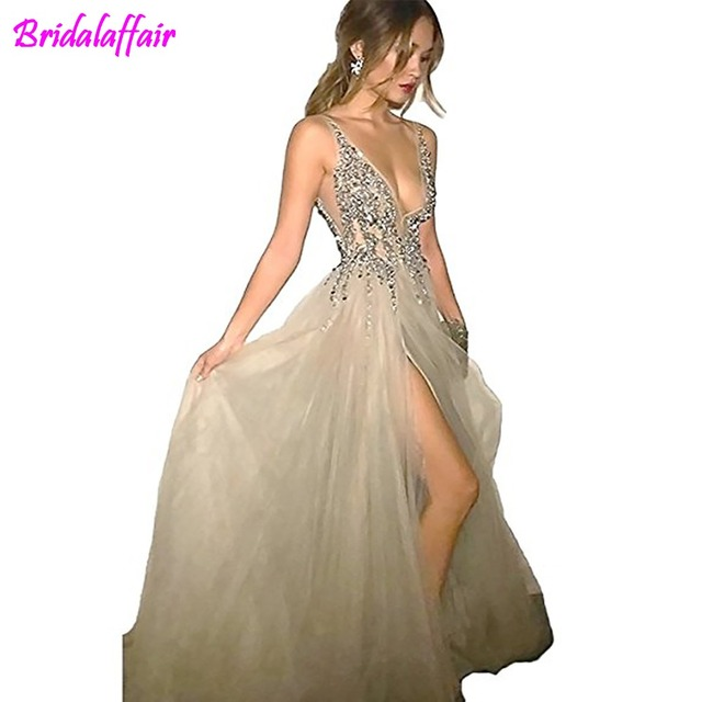 69b1ac9c04ff8c BridalAffair Sexy Gray Prom Dresses with Deep V Neck Sequins Tulle and Lace  High Split Long Evening Dress Sex Party Dresses