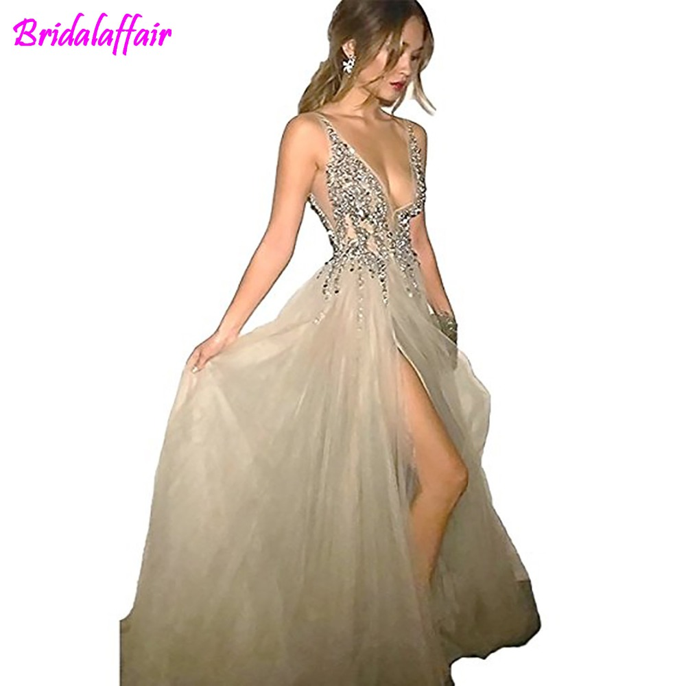 BridalAffair Sexy Gray   Prom     Dresses   with Deep V Neck Sequins Tulle and Lace High Split Long Evening   Dress   Sex Party   Dresses