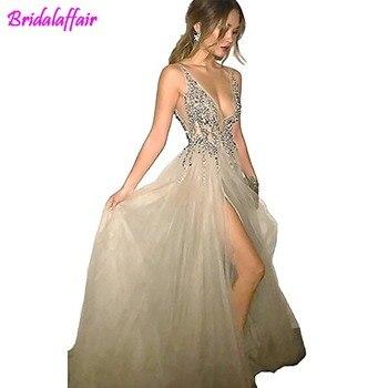 89c3fcdc6 BridalAffair Sexy gris vestidos de fiesta con profundo cuello en V  lentejuelas tul y encaje alto