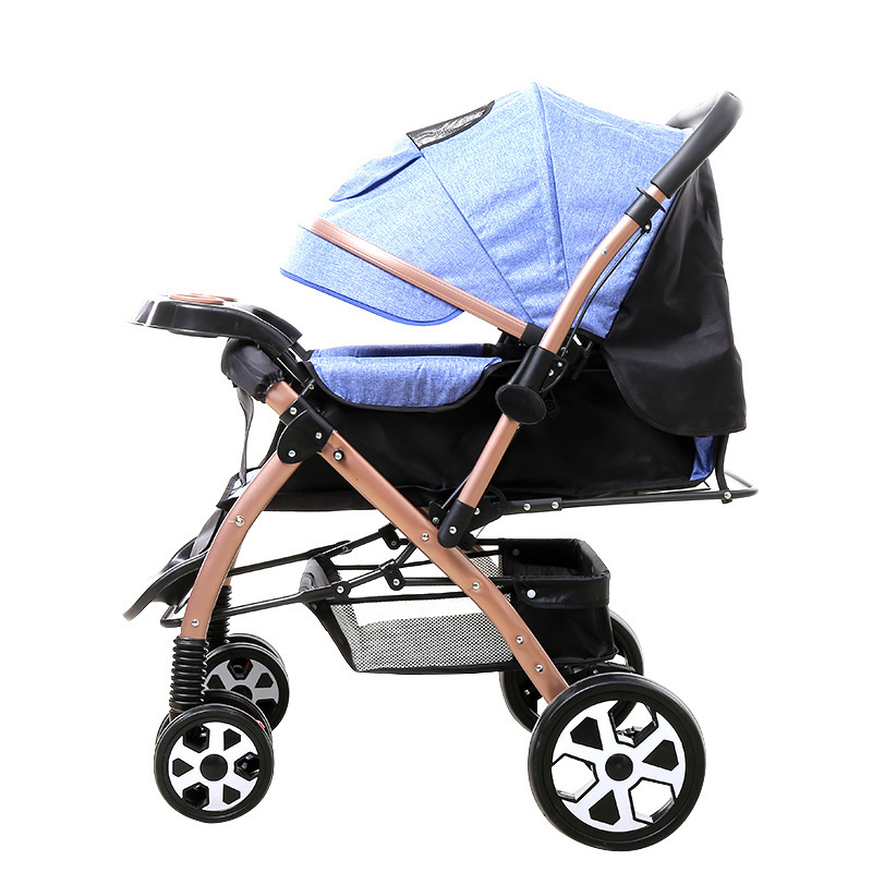 Convertible Handle High Landscape Baby Trolley Lie Flat Newborn Baby Carriage Four Wheels Stroller Portable Folding Umbrella Car