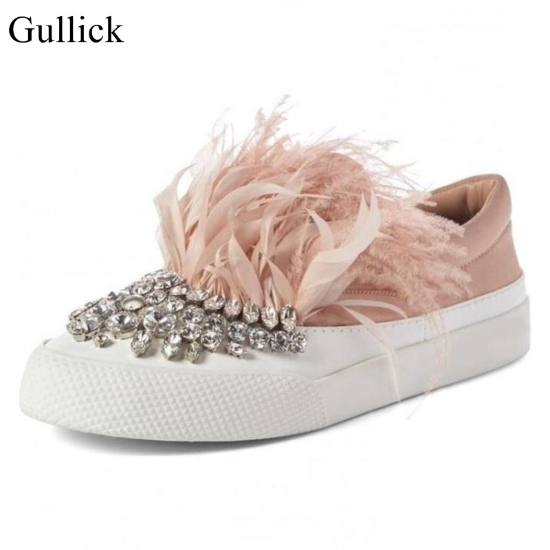 Gullick Pink Feather Crystal Embellished Flats Shoes Women Round Toe Slip On Flats Casual Skate Shoes Rubber Sole Flats цена 2017