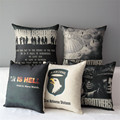 New 43cm Band of Brothers Pillowcase Throw Pillow Square Black Gray War is Hell Home Decorative Cushion Pillow Case Almofadas