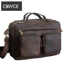 Vintage Crazy Horsehide Briefcases Men Genuine cow Leather Messenger shoulder Bags Laptop Handbags Cowhide Business Totes Russia