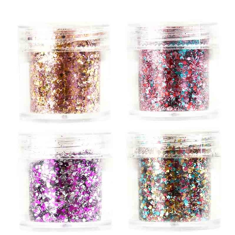 Chunky Glitter Pailletten Nagel Decor Gel Pailletten Glitter Hexagon Pailletten Für Nägel 10 Ml/box Augen Make-up & Manuelle Diy Einfach 4 In 1 Set