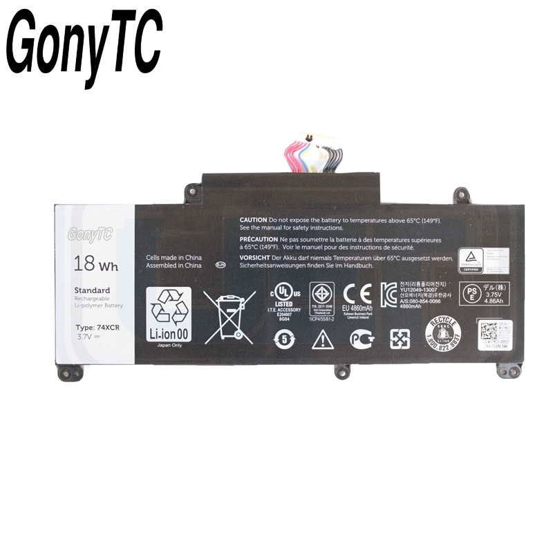 Image 2 - Gonytc 18Wh 3,7 V 74XCR 074XCR Оригинальный аккумулятор для ноутбука Dell Venue 8 Pro 5830 T01D VXGP6 X1M2Y Tablet Series подлинный аккумулятор-in Аккумуляторы для ноутбука from Компьютер и офис