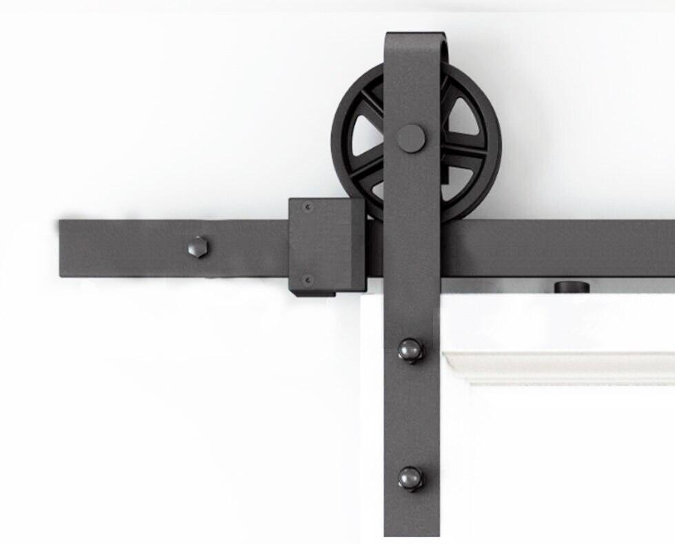 DIYHD 150 cm-300 cm Vintage rayons roue industrielle coulissante grange porte en bois intérieur placard porte cuisine porte matériel de voie