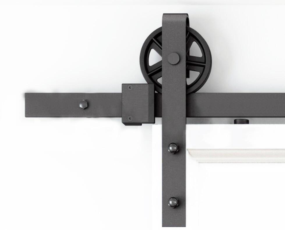 DIYHD 150cm-300cm Vintage Spoke Industrial Wheel Sliding Barn Wood Door Interior Closet Door Kitchen Door Track Hardware