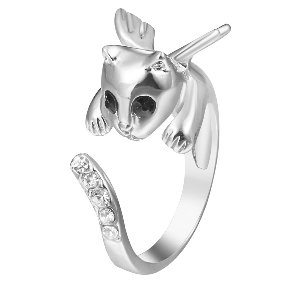 QIAMNI Shining Beautiful Lovely Angle Kitty Wing Cat Animal Rings Pet Lover Birthday Party Gift for Women Girls Fashion Jewelry