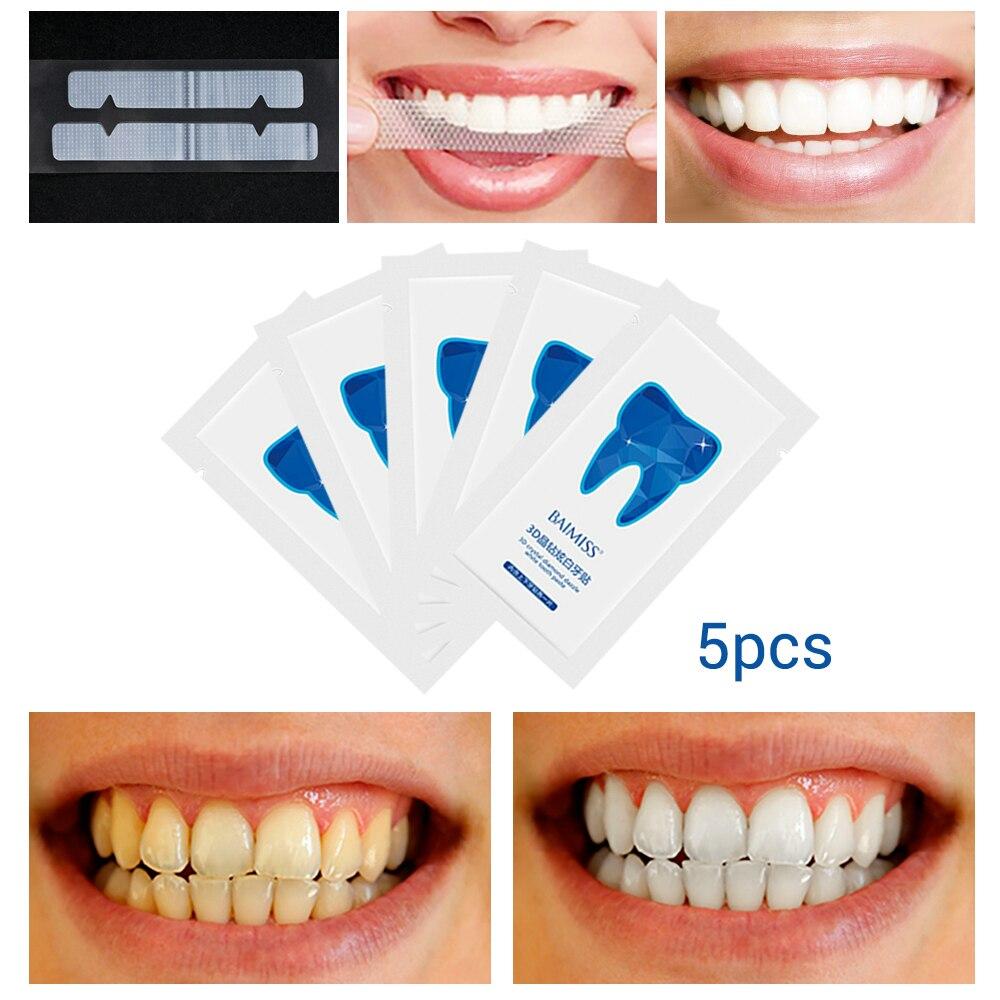 10Pcs/5Pairs Teeth Whitening Strips 3D White Gel Dental Tools Veneers Teeth Perfect Smile Bleaching Tool Tooth Care Oral Hygiene