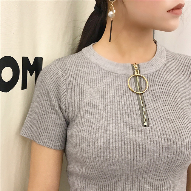 6a0d111ba059 Good Quality Knitted Short Sleeve T Shirt Women Tops Slim Fitness Zip Up  Metal Ring Tee