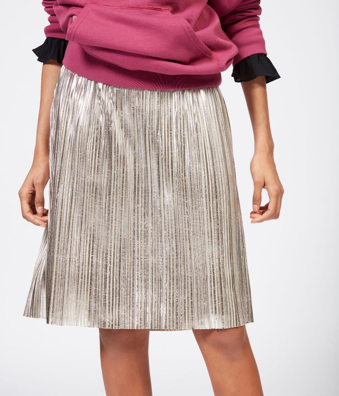 f18cb33d7 Falda plisada de órgano con lentejuelas plisada falda metálica Cintura  elastizada