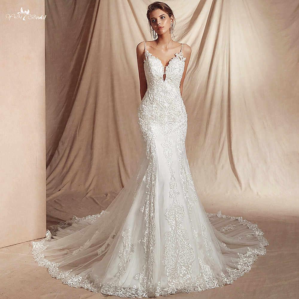 Spaghetti Strap Lace Mermaid Wedding Gowns: RSW1449 Spaghetti Straps Lace Pattern Mermaid Wedding