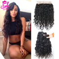 360 Lace Frontal With Bundles Peruvian Virgin Human Hair Natural Wave Pre Plucked 360 Lace Frontal Closure With 3Pcs Bundles