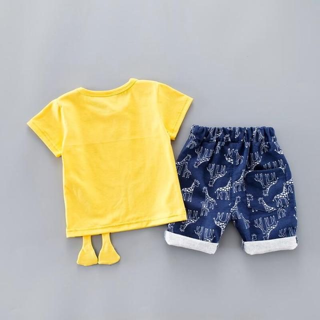 Summer Kids Baby Clothes Set for Boys 1-3 Years CLOTH Cut Cartoon Animal Infant Clothing Suit Giraffe Top T-shirt Toddler Outfit