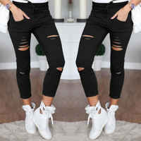 2019 new fahsion sexy skinny hole black white Women Denim Skinny Ripped Pants High Waist Stretch Slim Pencil Trousers
