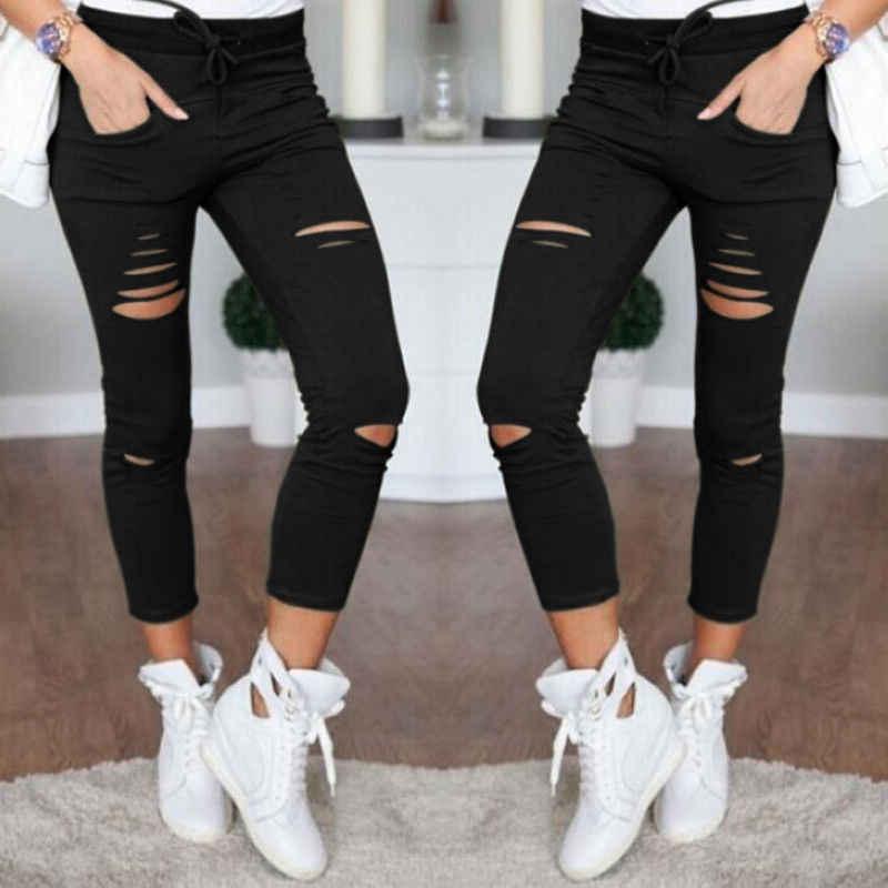 2020 yeni moda seksi sıska delik siyah beyaz kadın kot sıska yırtık pantolon yüksek bel streç İnce kalem pantolon