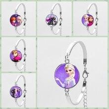 Брендовый ювелирный браслет с короткой цепочкой для девочек, Хрустальный выпуклый Круглый браслет принцессы Эльзы, Анны, Снежной королевы, стеклянный браслет, подарок для девочки