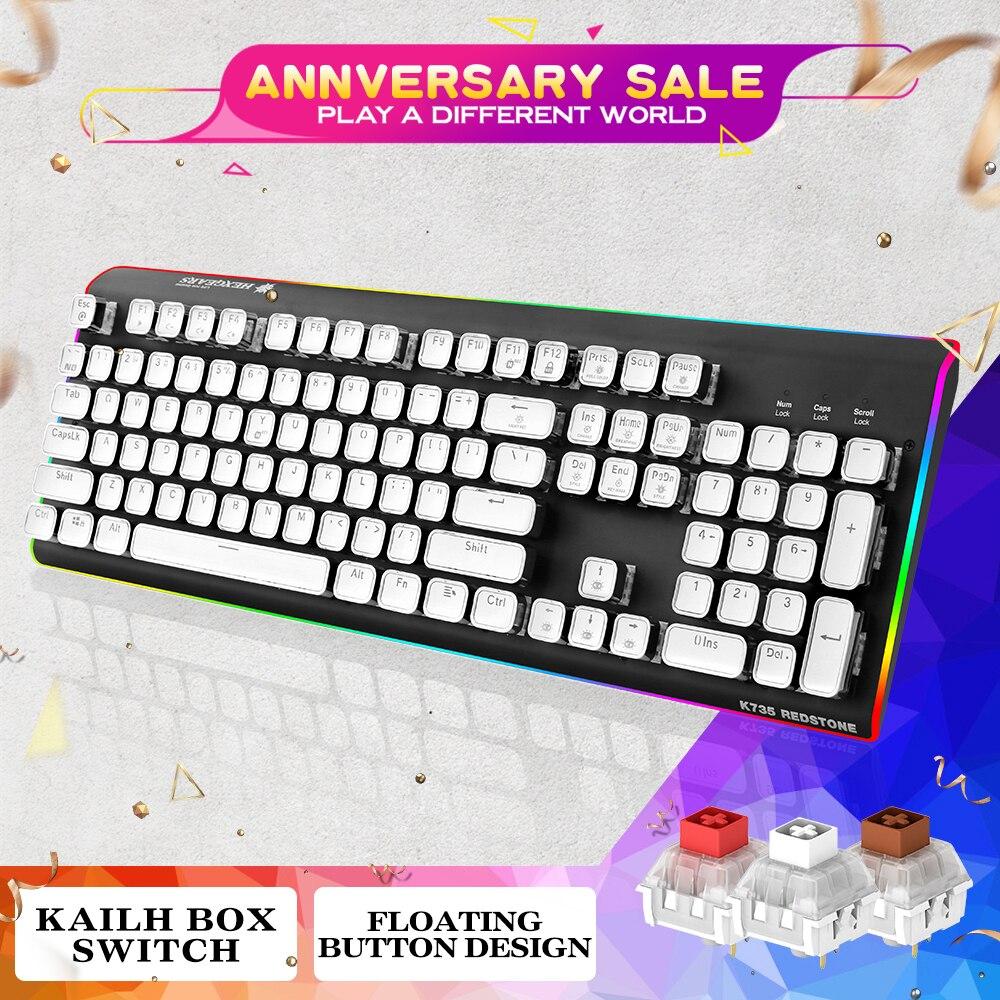 HEXGEARS GK735 Pro clavier mécanique clavier de jeu Rétro EP Keycaps RGB Hublot Gamer Klavye Kailh Boîte Commutateur Clavier