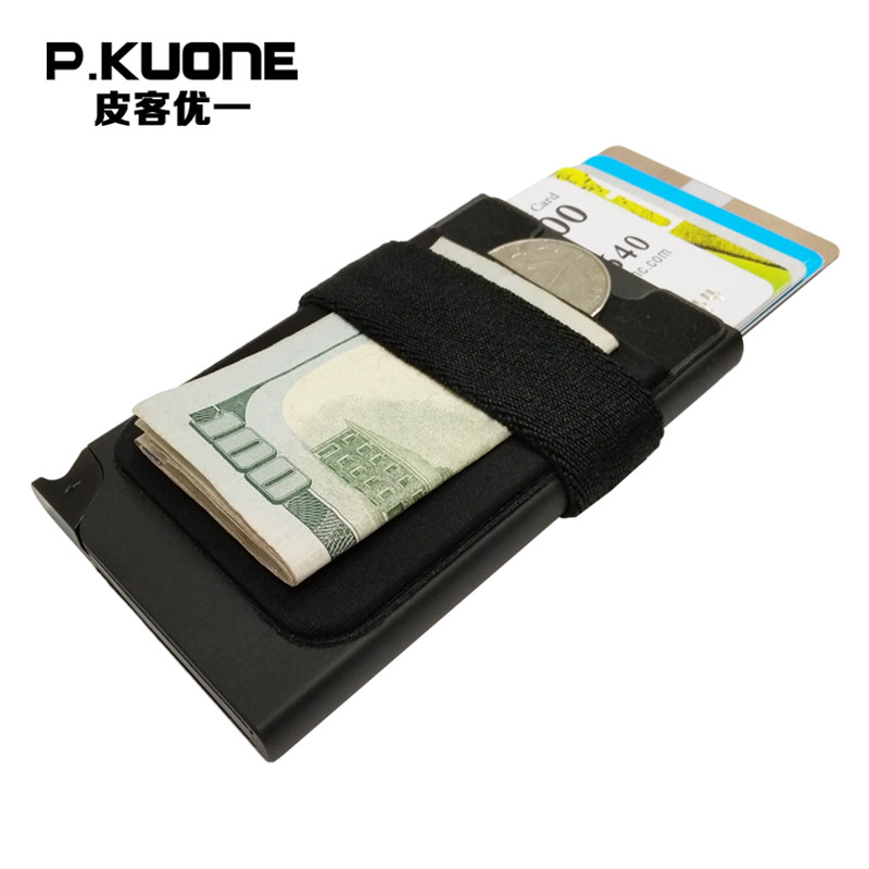 P.KUONE New Design RFID Credit Card Holder Wallet Metal Case Safe Wallet Aluminum Blocking Money Clip Travel Mini Purse Id Card