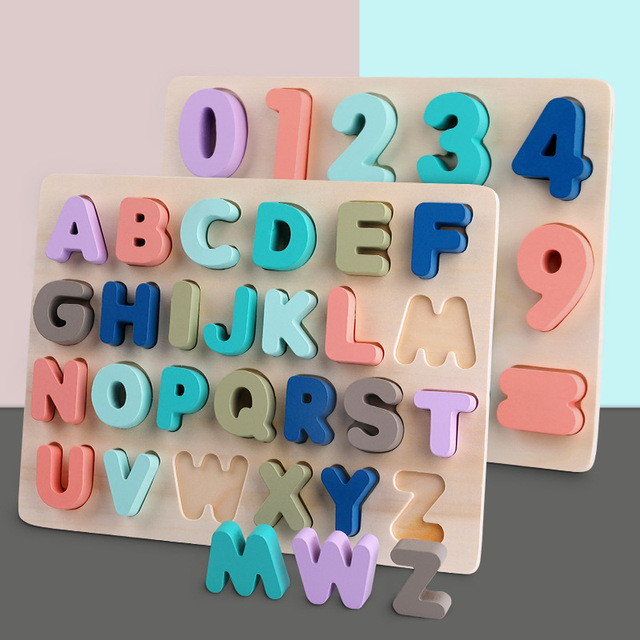 High quality Kids abc Alphabet Letter puzzle Wooden Early education math toys for children  Preschool Jigsaw Montessori Game