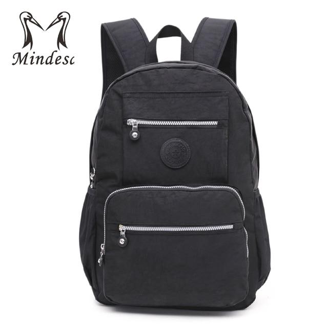 MINDESA Backpack For Teenage Girls School Bag Mochila Feminina Backpacks  Women Solid Nylon Schoolbag Laptop Bagpack Female Black 8fcd70805c891