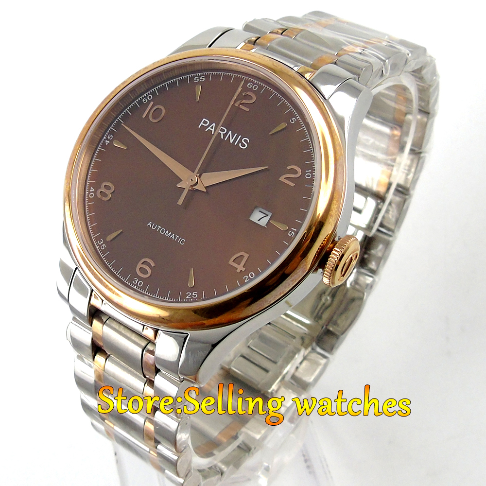 38mm Parnis brown dial date Sapphire Glass miyota Automatic mens Watch image