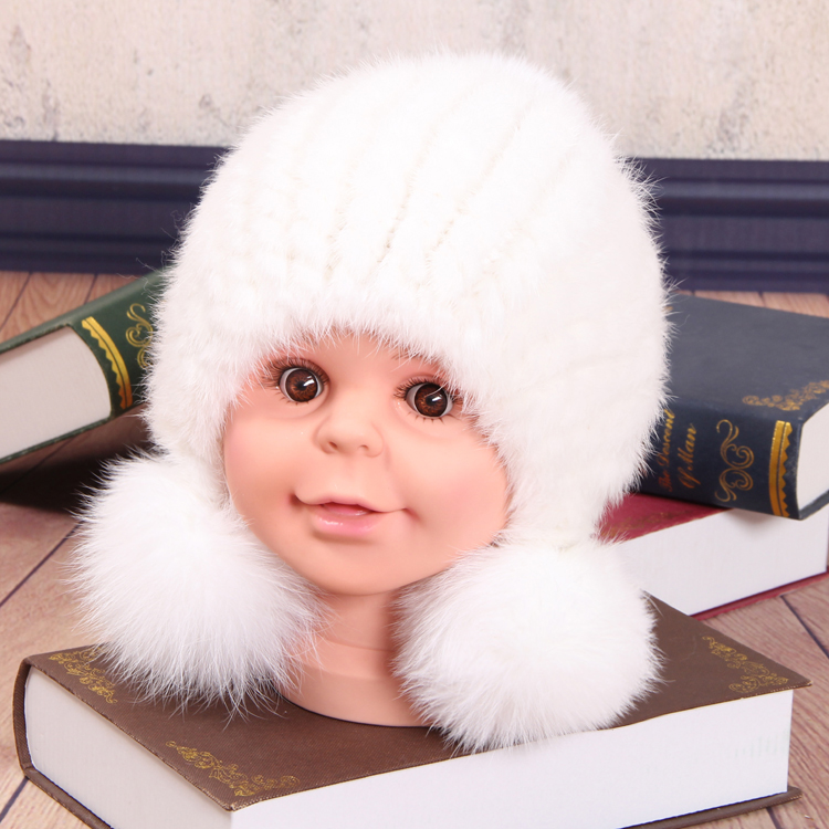 Children Baby Hat Winter Mink Hair Thick Warm Mink Fur Earmuffs Woven Hat Fox Ball Cap Children foreign trade explosion models in europe and america in winter knit hat fashion warm mink mink hat lady ear cap dhy 36