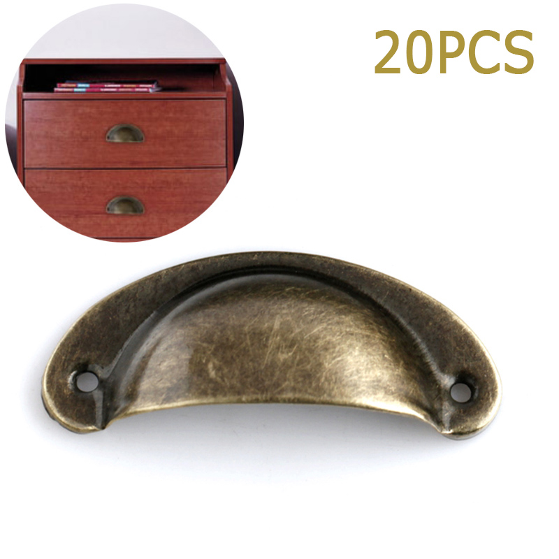 20Pcs Retro Metal Kitchen Drawer Cabinet Door Handle Furniture Knobs Hardware Cupboard Shell Pull Handles  ALI88 furniture drawer handles wardrobe door handle and knobs cabinet kitchen hardware pull gold silver long hole spacing c c 96 224mm