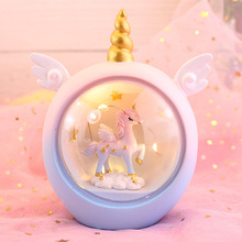 Ins creative unicorn warm little night light soft cute girl star lighting decoration ornaments cartoon resin birthday gift