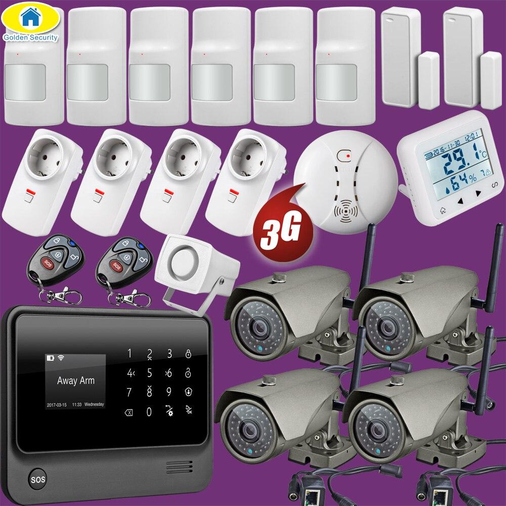Kit 1080P WiFi IP Camera G90B Plus+ WiFi 3G GSM WCDMA Wireless Home Alarm System Security Surveillance System Temperature Sensor