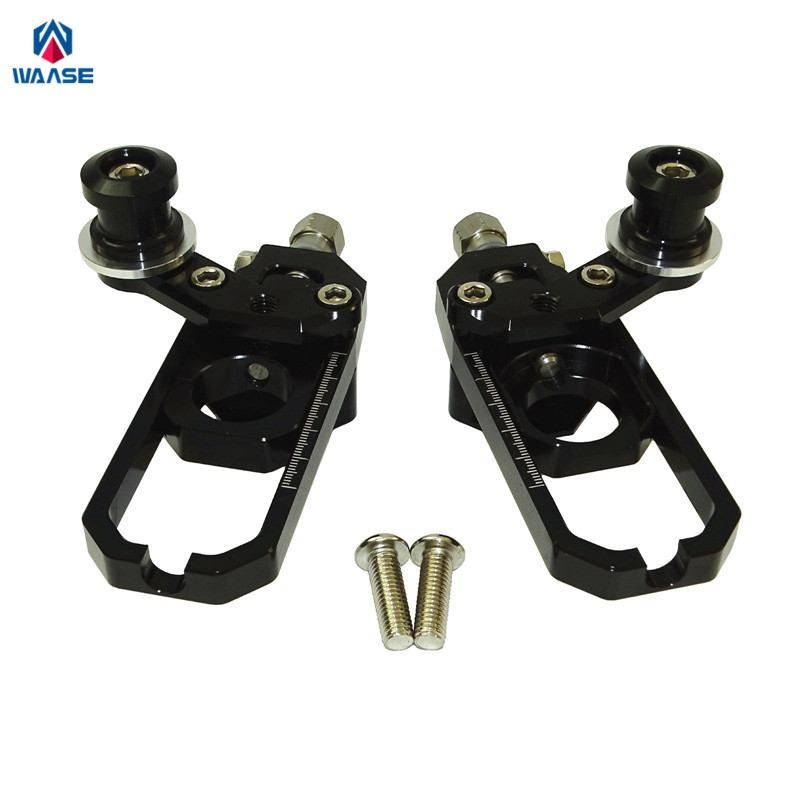 waase ZX6R ZX-636 13-16 Chain Adjusters with Spool Tensioners Catena For Kawasaki Ninja ZX-6R ZX636 2013 2014 2015 2016 for kawasaki ninja zx 6r zx6r zx636 zx636r zx 636 2005 2006 street bike steering damper mounting kit stabilizer adjustable