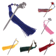 Chinese Style Vintage Classic Metal Bookmark Tassel Beads School Office Supplies
