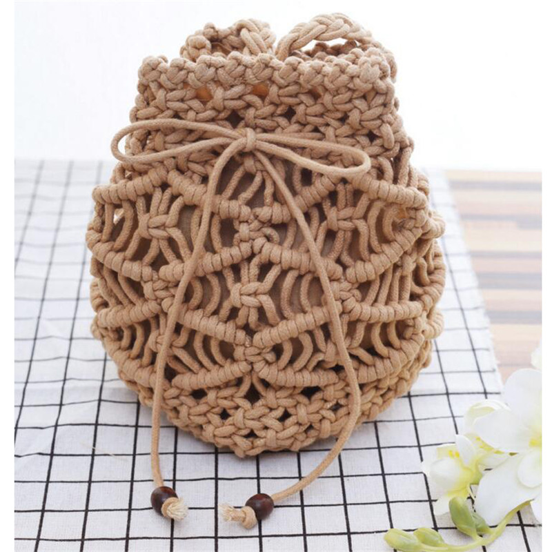 Hand Knitting Cotton Thread Womens Handbag Mini Beach Bag Messenger Mobile Phone Bag Small Drawstring Single Shoulder Bag M456