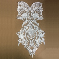 White Seeds Beaded Embroidered Patch Sew On Lace Applique Patches For Wedding Dress Embroidery Appliques Parches 62x30cm AC1343