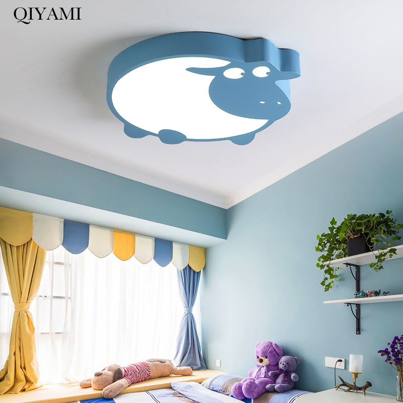 Pink Cow LED Ceiling Lights For Kids room bed room Kitchen House Lighting Fixtures with remote control indoor home Lamps dero