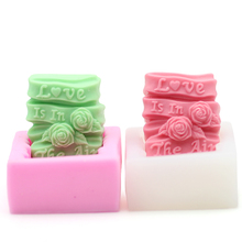 Handmade Silicone Soap Mold Diy Love Rose Rectangle Making Mould Arts Decorative