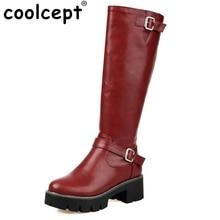 Kobieta Okrągły Toe Kozaki Damskie Buckle Style Plac Heel Bootines, Żeński, Moda Zamek Rycerz Boot Buty Kobieta Rozmiar 34-43